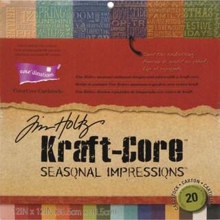 "Core'dinations Kraft Core Cardstock Pad 12""X12"" By Tim Holtz-Seasonal, 20 Sheets"