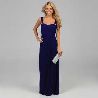 Betsy & Adam Women?s Royal Blue Sleeveless Long Cascading Dress