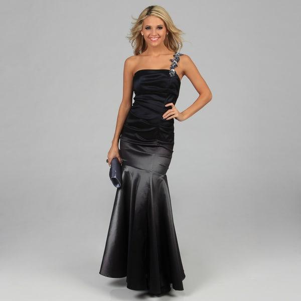 Betsy & Adam Women's Black Ombre One-shoulder Long Dress