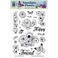 "Hot Off The Press Acrylic Stamps 6""X8"" Sheet-Serendipity Flowers"