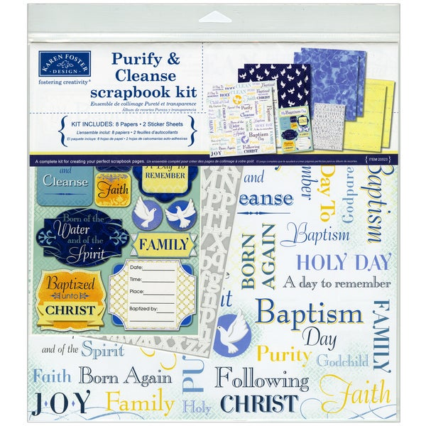 "Purify & Cleanse Baptism Scrapbook Page Kit 12""X12""-"