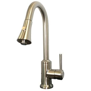 Moderna Tall Stainless Steel Kitchen Faucet With Pull Down Sprayer Overstock Shopping Great
