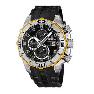 Festina Men's Black/ Yellow Stainless Steel Chrono Watch