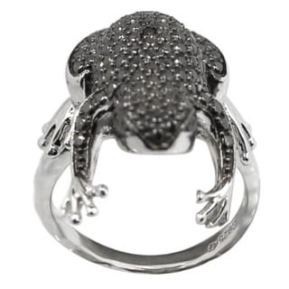 De Buman Sterling Silver Black Diamond Accent Frog Ring