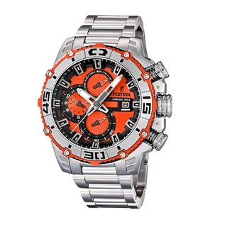 Festina Men's Stainless Steel Black/ Orange Chrono Watch