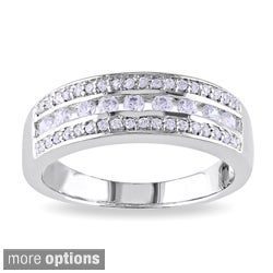 M by Miadora Rose or White Goldplated Silver Cubic Zirconia Band-style Ring