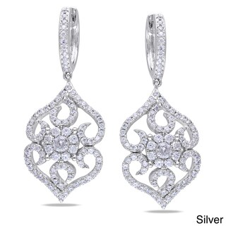 Miadora Rose or White Goldplated Silver Cubic Zirconia Earrings