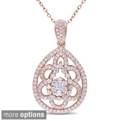 Miadora Rose or White Goldplated Silver Cubic Zirconia Necklace