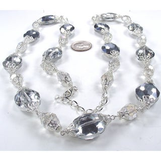 Silverplated Silver and Clear Crystal Wedding Jewelry Set