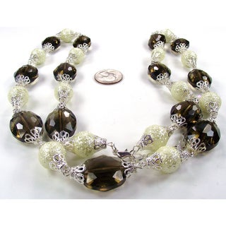 Silverplated Smokey Quartz Crystal and Cream Bumpy Glass Pearl Jewelry Set