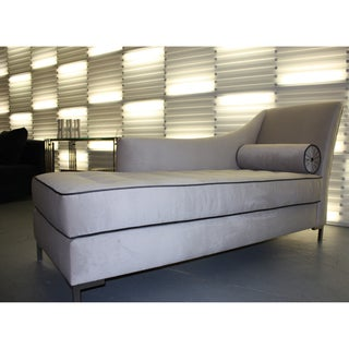 Decenni custom furniture 39 tobias 39 grey velvet tufted for Abbyson living soho cream fabric chaise