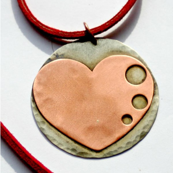 My Three Metals Large Copper Heart Necklace