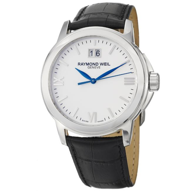 Raymond Weil Men's 'Tradition' Stainless Steel and Leather Quartz Watch