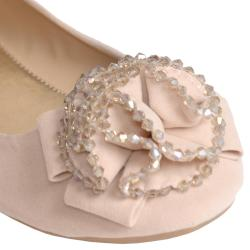Journee Collection Women's 'Crush-01' Flower Beaded Front Ballet Flats