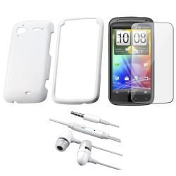 White Rubber Case/ Headset/ Screen Protector for HTC Sensation 4G