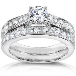 14k White Gold 1ct TDW Diamond Bridal Ring Set