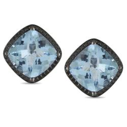 Miadora 14k White Gold Blue Topaz and 3/4ct TDW Black Diamond Earrings