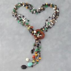 Cotton Rope Sweet Surprise Multi-gemstone Lariat Necklace (Thailand)