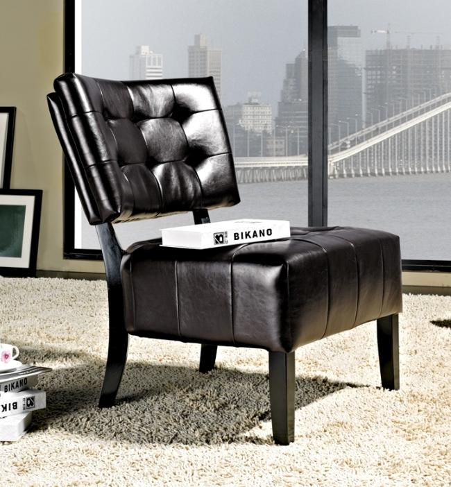 Abbyson Living Bentley Bonded Leather Dark Brown Armless Chair