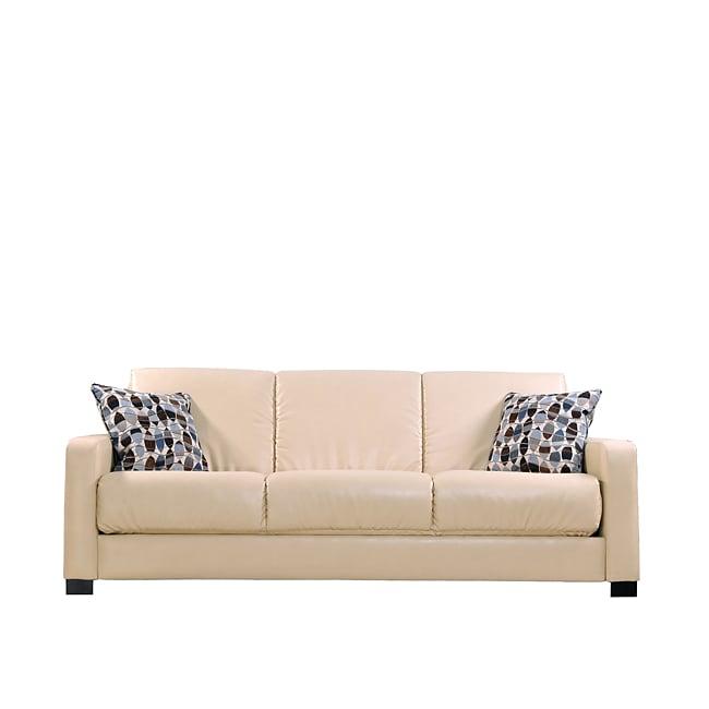 Portfolio Trace Convert-a-Couch Almond Renu Leather Futon Sleeper Sofa
