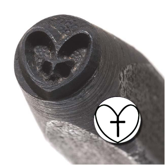 Beadaholique Heart Cross 6mm Punch Stamp for Metal