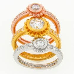 Meredith Leigh Tri-color Sterling Silver Stackable Ring Set