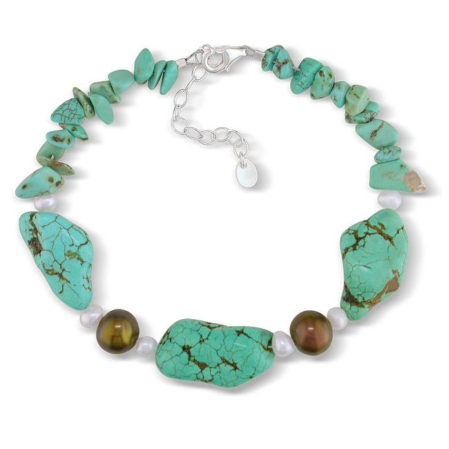 Sterling Silver Turquoise and Freshwater Pearl Bracelet (4-9 mm)