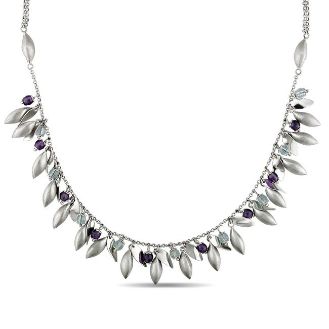 Miadora 14k White Gold Amethyst and Blue Topaz Bead Necklace
