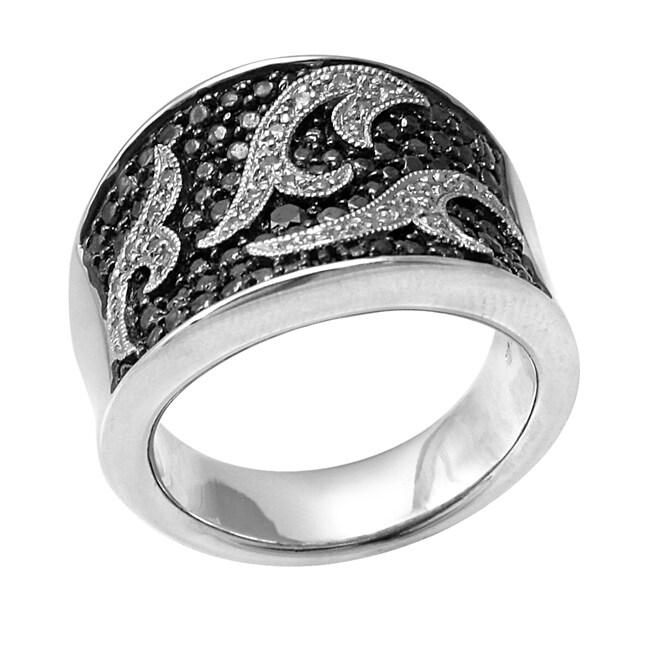Hollywood Retro Platinum over Silver 1/6ct TDW Diamond Ring (I J, I1