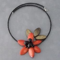 Orange Shell and Onyx Floral Choker Necklace (Thailand)