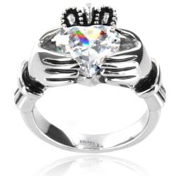 Stainless Steel Heart-cut Cubic Zirconia Claddagh Ring