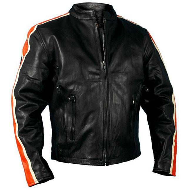 Leather Men's Orange/ Cream Arm Stripes Motorcycle Jacket