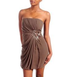 Stanzino Women's Brown Pleated Bodice Strapless Dress