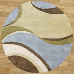 Alliyah Handmade Multi Color New Zealand Blend Wool Rug (6' Round)