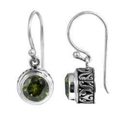 Sterling Silver Faceted Peridot Dangle Earrings (Indonesia)