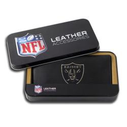 Oakland Raiders Black Leather Embroidered Checkbook Cover