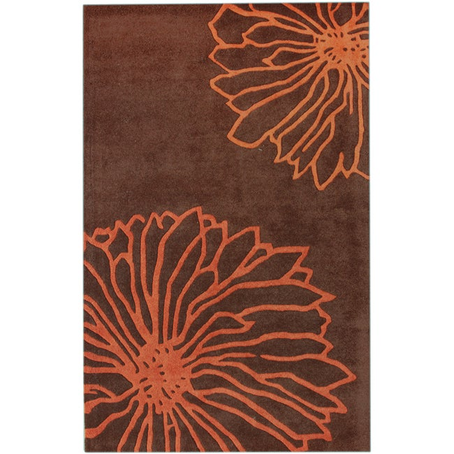 nuLOOM Handmade Floral New Zealand Wool Rug (5' x 8')