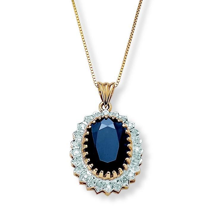 Angelina D'Andrea Gold over Silver Sapphire and Diamond Accent Necklace
