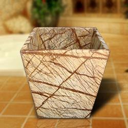 Marble earthy brown waste bin 13804587 for Stone bathroom bin
