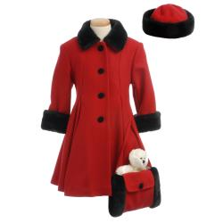 Trilogi Collection Girls' Red Wool-blend Faux Fur Hooded Walking Coat