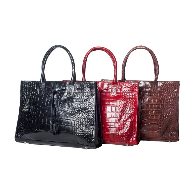 Michael Rome Patent Croco-embossed Leather Tassel Tote Bag