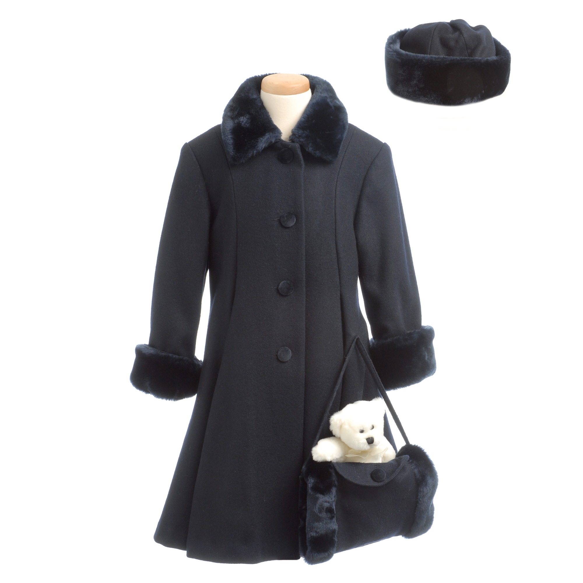 Trilogi Collection Girl's Wool-blend Faux Fur-trimmed Coat