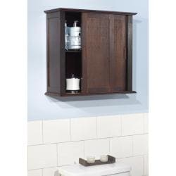 simple living sliding door bamboo wall cabinet overstock shopping