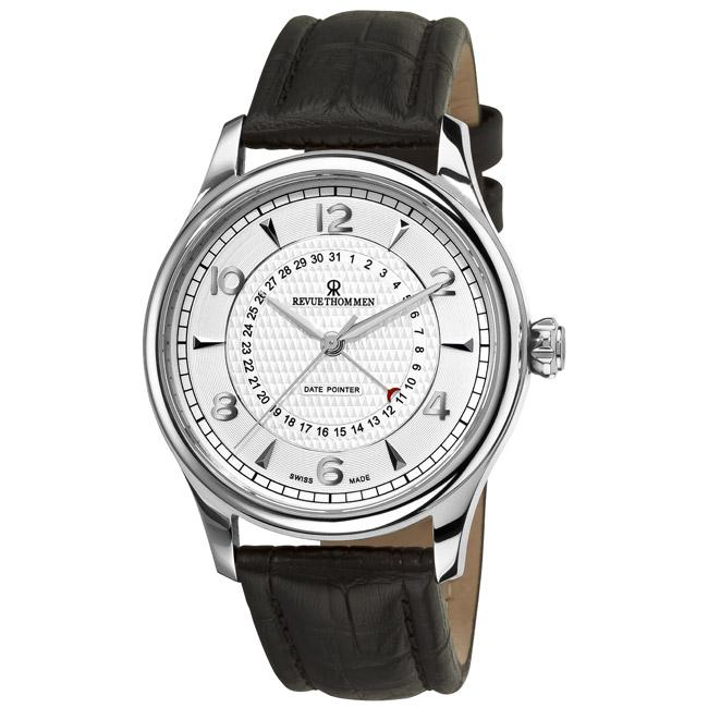 Revue Thommen Mens Date Pointer Black Leather Strap Automatic Watch