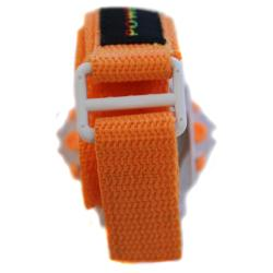 Power G Perfect Time Orange Alarm Chronograph Hook and Loop Strap Watch