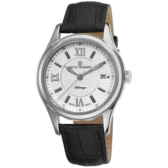 Revue Thommen Mens Heritage Black Leather Strap Silver Face Watch