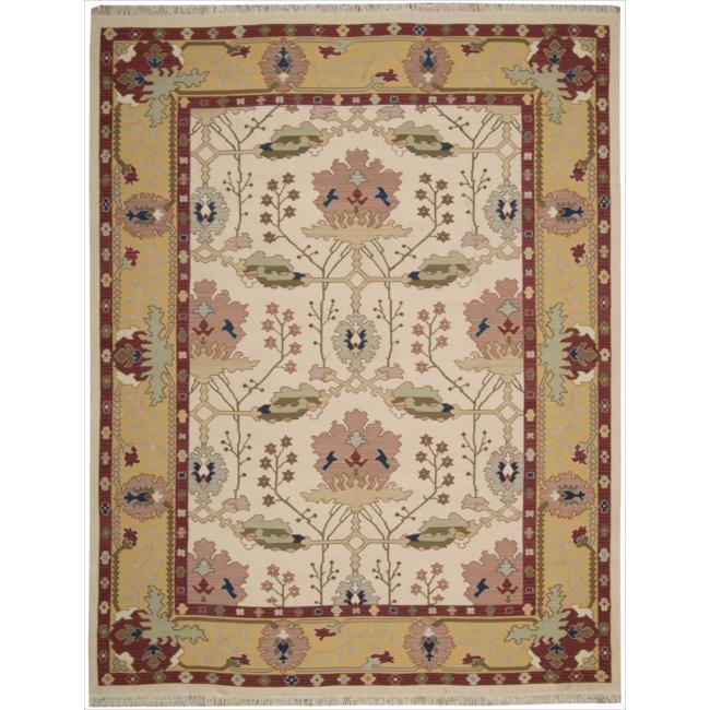 Nourison Samarkand Flatweave Reversible Ivory Wool Rug (5'6 x 8'6)