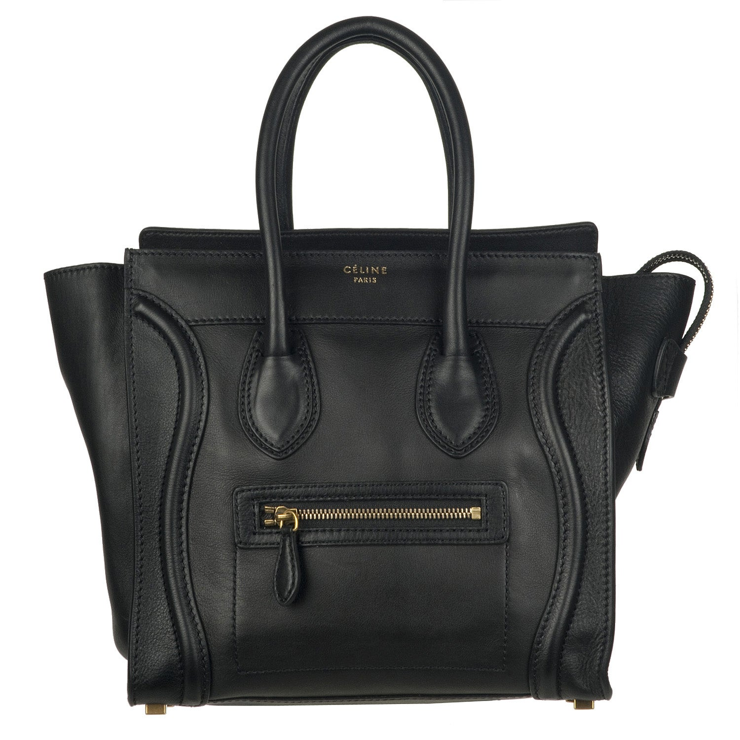 Celine Micro Black Leather Luggage Bag Tote