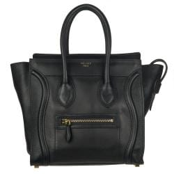 celine online shop usa - Celine Micro Black Leather Luggage Bag Tote - 13812228 - Overstock ...