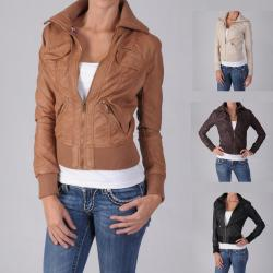 Ci Sono by Journee Junior's Ribbed Collar Faux Leather Jacket